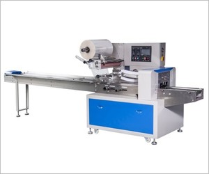 Rotary pillow up feeder packaging machine